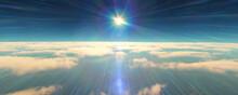 Fly Above Clouds Sunset Landscape 3d Render