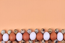 Composition Of Hen And Quail Eggs And Copy Space.