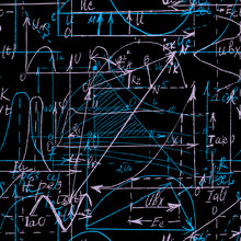 Seamless Pattern Of Math And Geometry, Endless Handwriting And Drawing Of Various Graph Solutions On Chalk Boards. Mathematics Subjects Graphics. College Lectures. Vector.