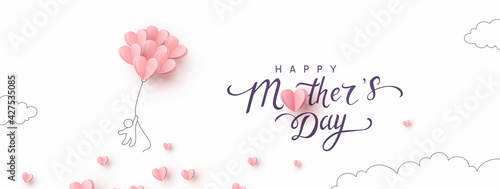 Mother's Day postcard with flying man and pink balloons on white background. Vector paper symbols of love in shape of heart for greeting card design