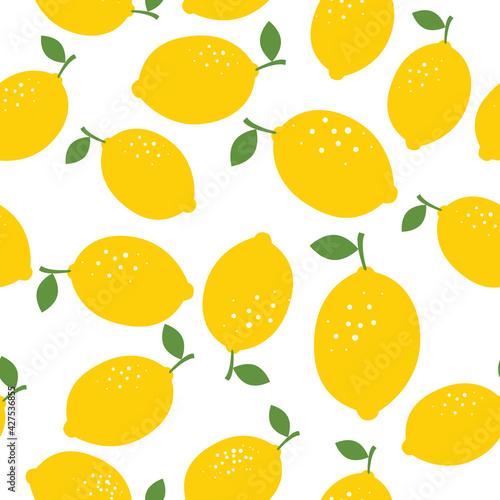 Fényképezés Lemon seamless pattern vector illustration. Summer design