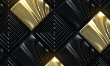 Abstract Background With Black Golden Ornate Mosaic Tiles