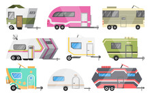 Flat  Set Of Classic Camper Vans And Trailers. Recreational Vehicles. Home On Wheels. Comfort Cars, Caravan Van For RV Family Trip To Nature.  Illustration For Web Design Or Print