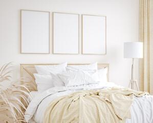 Mockup frame in farmhouse style bedroom interior background, 3d render