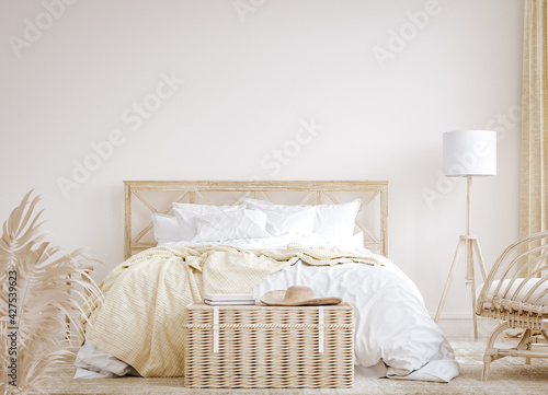 canvas print motiv - artjafara : Farmhouse style bedroom interior background, 3d render