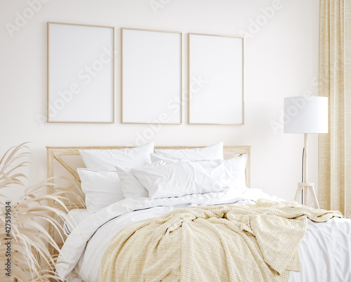 Photographie Mockup frame in farmhouse style bedroom interior background, 3d render