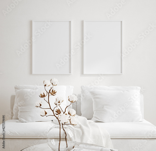 Mockup frame in cozy light minimalist living room interior close up, Scandinavian interior background, 3d render