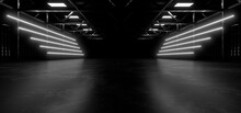A Dark Hall Lit By White Neon Lights. Reflections On The Floor And Walls. 3d Rendering Image.