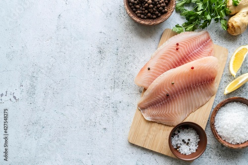 Obraz na plátně Top view delicious seafood assortment