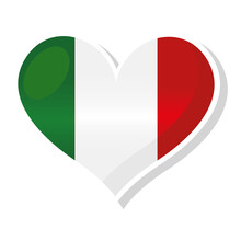 Flag Of Italy In Heart Shaped - Vector Illustration