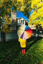 Girl Under A Multi-colored Umbrella. Bright Picture