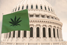 Beautiful Flag Of Canabis, Marijuana,weed , Pot Waving With The Strong Wind And Behind It The Dome Of The Capitol USA United States Of America 3D RENDER, 3D RENDERING.