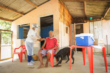 Nurse Applies A Second Dose Of Vaccine Against Covid 19 To An Elderly Man In A Neighborhood On The Outskirts Of Guarani, Minas Gerais, Brazil.