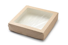 Empty Kraft Cardboard Box With Transparent Window Isolated On White Background.
