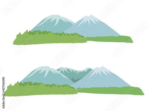Stampa su Tela 遠くに見える山のイラスト