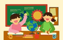 Happy Boy And Girl Learing In Classroom Cartoon Vector