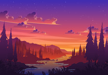 Sunset Valley Landscape Illustration. Beautiful Sunset Valley With River, Pine Trees And Hill Vector Landscape. Good For Background, Wallpaper, Wall Decor, Poster, Banner, Art Print, Etc