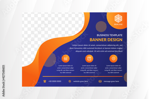 Abstract flyer design template for business program with Blue background and Orange gradient of element and line pattern inside on circle. Vector elegant backdrop for promotion with space for photo.