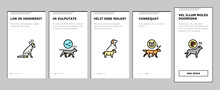 Dog Domestic Animal Onboarding Mobile App Page Screen Vector. Yorkshire And Rottweiler, Beagle And French Bulldog, Golden Retriever And German Shepherd Dog Illustrations
