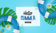 Hello Summer Vector Banner With Hand-drawn Lettering On White Space With Border With Colorful Beach Elements Like Tropical Leaves, Flower And Lifebuoy In Blue Background, Vector Illustration