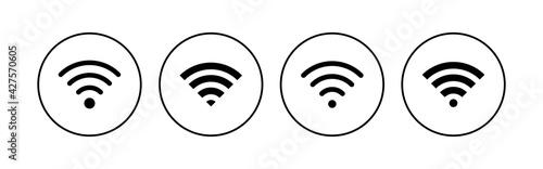 Fotografie, Obraz Wifi icon set. signal vector icon. Wireless  icon vector