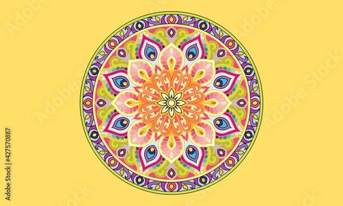 Valokuva Mandala coloring book for kids mandala coloring page yellow background