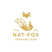 Natural Fox Logo Design Inspiration - Isolated Vector Illustration On White Background - Creative Logo, Icon, Symbol, Sticker, Emblem, Badge - Fox Or Wolf And Leaves Or Wheat Combination