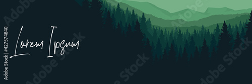 Mountain forest landscape silhouette flat design vector template for background, Fototapeta