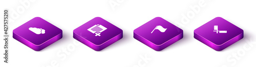 Photographie Set Isometric Cloud, Add new file, Flag and Crossed meat chopper icon