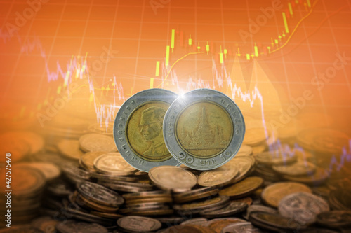 Thai baht coins , 10 baht of Thailand The concept of deposit growth Tapéta, Fotótapéta