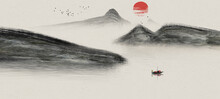 Hand Painted Chinese Ink Landscape