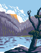WPA Poster Art Of Loch Lake In Rocky Mountain National Park Within Front Range Of Rocky Mountains Located In Northern Colorado Done In Works Project Administration Style Or Federal Art Project Style.