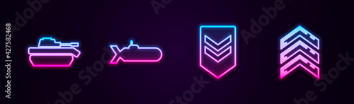Set line Military tank, Submarine, Chevron and rank. Glowing neon icon. Vector