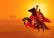 King Richard The Lionheart Holding A Sword And Shield On Horseback