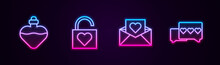 Set Line Bottle With Love Potion, Lock And Heart, Envelope Valentine And Like. Glowing Neon Icon. Vector