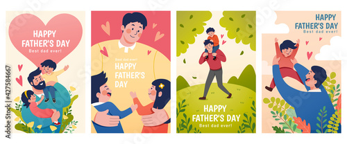 Flat illustrations of Father's Day