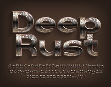 Deep Rust Alphabet Font. Messy Beveled Letters, Numbers And Punctuations. Uppercase And Lowercase. Stock Vector Typescript For Your Design.