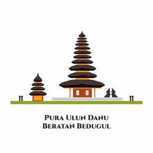 Pura Ulun Danu Bratan Temple On A Lake Beratan. Indonesian Landmark In Bali. Historical Building. A Place Of Prayer In Hinduism. Travel To Asia. Flat Vector Design Cartoon Illustration