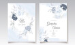 Elegant wedding invitation card with navy blue beautiful floral and leaves template Premium Vector
