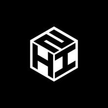 HIN Letter Logo Design With Black Background In Illustrator, Cube Logo, Vector Logo, Modern Alphabet Font Overlap Style. Calligraphy Designs For Logo, Poster, Invitation, Etc.