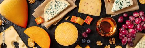 Cheese, wine, and fruit panorama, top shot Fototapet
