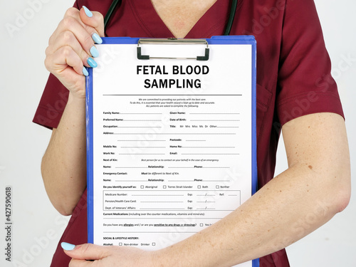 Fototapeta Healthcare concept meaning FETAL BLOOD SAMPLING FBS with phrase on the page