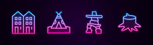 Set Line House, Indian Teepee Or Wigwam, Inukshuk And Tree Stump. Glowing Neon Icon. Vector