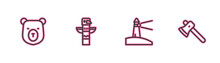 Set Line Bear Head, Lighthouse, Canadian Totem Pole And Wooden Axe Icon. Vector