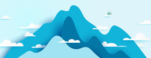 Mountains Nature Landscape Scenery Banner Background Paper Art Style.Vector Illustration.