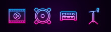 Set Line Online Play Video, Stereo Speaker, Music Synthesizer And Microphone With Stand. Glowing Neon Icon. Vector