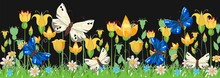 Blooming Meadow With Grass, Flowers And Butterflies. Night Landscape. Cartoon Style. Fabulous Illustration. Background Picture. Beautiful Natural View. Wild Plant Nature. Rural Scene.  Vector