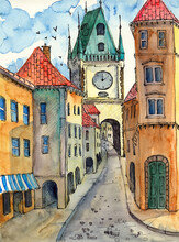 Watercolor Illustration Of Old Prague Street With Old Colorful Houses, Arched Galleries And City Hall Tower