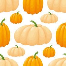Seamless Pattern With Pumpkins.