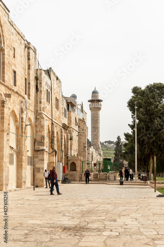 Fototapeta The south part the Temple Mount and the Bab Al Asbat Minaret in the Old Town of